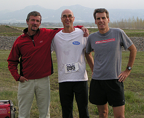 Steve Jones (former marathon world record holder), Mike Sandrock, and Ted Kennedy (Ironman North America) pose after the Boulder Dine and Dash #4 in 2005.  photo: coloradorunnermag.com
