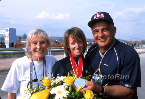 Coach Doris Brown-Heritage, Deena Drossin, Coach Joe Vigil, 2003  World XC, photo by PhotoRun.net.