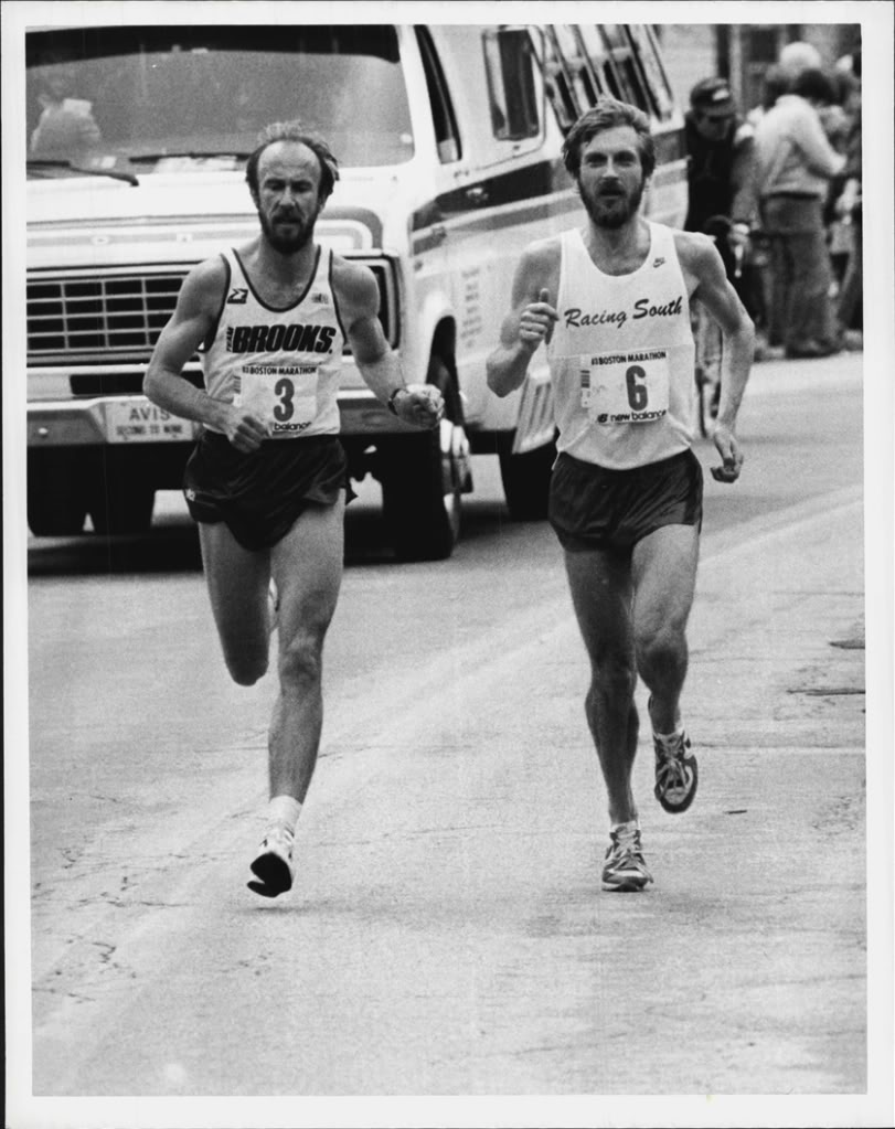 1983 Boston Marathon (Durden is on right).  Photo: Bob Howard for the Chicago Sun Times