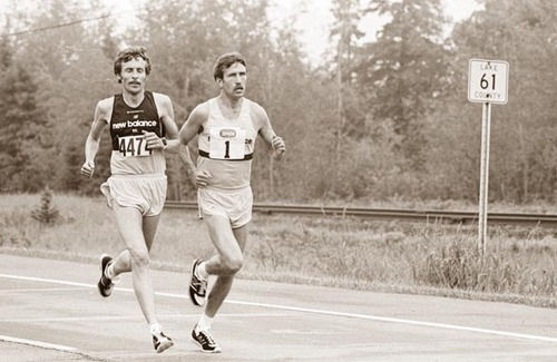 Garry Bjorklund, right, battles with Dick Beardsley in the 5th edition of Grandma's Marathon. Photo: Dulluth